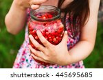 the ripe strawberries in a... | Shutterstock . vector #445695685