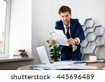 annoyed young businessman ... | Shutterstock . vector #445696489