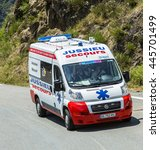 Small photo of COL D'ASPIN,FRANCE - JUL 15: The official ambulance, driving on the road to Col D'Aspin in Pyrenees Mountains during the stage 11 of Le Tour de France 2015.