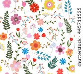 illustration of floral seamless.... | Shutterstock . vector #445711525