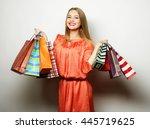 portrait of young happy smiling ... | Shutterstock . vector #445719625