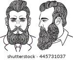 man gentleman with a long bushy ... | Shutterstock .eps vector #445731037