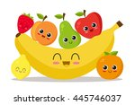 cute and funny fruits set.... | Shutterstock .eps vector #445746037