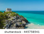 the ancient mayan ruins of... | Shutterstock . vector #445758541
