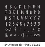 handwritten bold silver font... | Shutterstock .eps vector #445761181