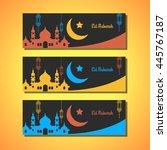 eid mubarak greeting cards in... | Shutterstock .eps vector #445767187
