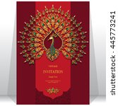 wedding invitation or card with ... | Shutterstock .eps vector #445773241
