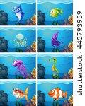 underwater scenes with sea... | Shutterstock .eps vector #445793959