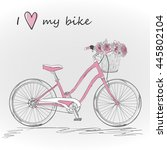bicycle with a basket full of... | Shutterstock .eps vector #445802104