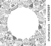 round frame with hand drawn...   Shutterstock .eps vector #445809889