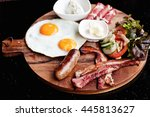 breakfast   fried egg with... | Shutterstock . vector #445813627