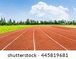 red runway under the blue sky | Shutterstock . vector #445819681