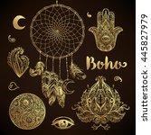 boho chic dreamcatcher... | Shutterstock .eps vector #445827979