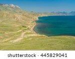 Crimean spring landscape near Karadag volcanic mountain range on a Black Sea shore, Crimean peninsula
