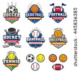 collection of seven badges and... | Shutterstock .eps vector #445836385
