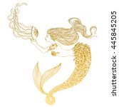 beautiful mermaid with... | Shutterstock .eps vector #445845205