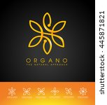 creative flower logo. linear... | Shutterstock .eps vector #445871821