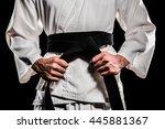 Fighter Tightening Karate Belt...