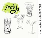 set of cocktails drawn by ink....   Shutterstock .eps vector #445882681