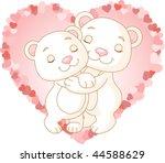 two very cute polar bears in... | Shutterstock .eps vector #44588629
