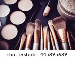 professional makeup brushes and ... | Shutterstock . vector #445895689
