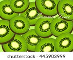 cute set with cartoon kiwi and... | Shutterstock .eps vector #445903999