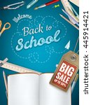 back to school sale background. ... | Shutterstock .eps vector #445914421