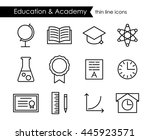 education and academy thin line ... | Shutterstock .eps vector #445923571