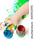 painted baby hands and paint... | Shutterstock . vector #44592595