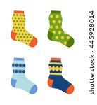 flat design colorful socks set...   Shutterstock .eps vector #445928014