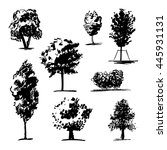 trees sketch set. hand drawing | Shutterstock .eps vector #445931131