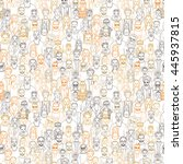 seamless pattern of hand drawn... | Shutterstock .eps vector #445937815