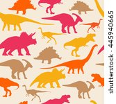 dinosaurs silhouette seamless... | Shutterstock .eps vector #445940665