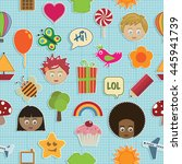 seamless kids pattern with... | Shutterstock .eps vector #445941739