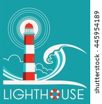 lighthouse and sea wave label... | Shutterstock .eps vector #445954189