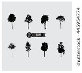 set of vector tree silhouettes. | Shutterstock .eps vector #445954774