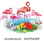 flamingoes and arrangement from ... | Shutterstock .eps vector #445956589