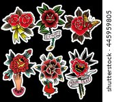 traditional tattoo flowers set... | Shutterstock .eps vector #445959805