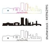 jacksonville skyline linear... | Shutterstock .eps vector #445962991