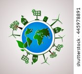 green planet vector info... | Shutterstock .eps vector #445978891