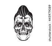 pompadour skull head. isolated... | Shutterstock .eps vector #445979089