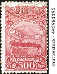 Small photo of Milan, Italy - January 19, 2014: Old brazilian postage stamp celebrating air mail