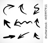 hand drawn arrows  vector set | Shutterstock .eps vector #445997911