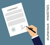 man signs document with stamp.... | Shutterstock .eps vector #446007601