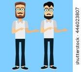 cool vector hipster man. flat... | Shutterstock .eps vector #446023807