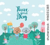 have a good day. cat and dog... | Shutterstock .eps vector #446031385
