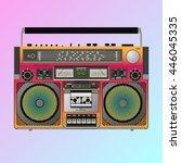 boombox cassette stereo... | Shutterstock .eps vector #446045335
