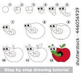 drawing tutorial for children.... | Shutterstock .eps vector #446056939