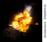 realistic fiery explosion over... | Shutterstock . vector #446069131