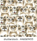 cute cats colorful seamless... | Shutterstock . vector #446069455